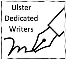 Image shows the Ulster Dedicated Writers Logo of a stylised pen writing and the site's name
